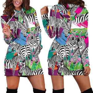 Zebra Colorful Pattern Women Hoodie Dress