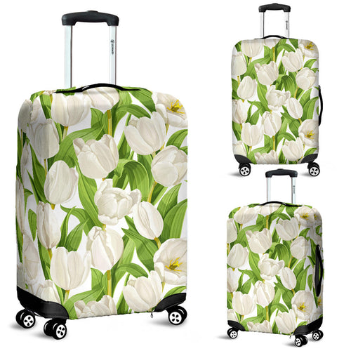 White Tulip Pattern Luggage Covers