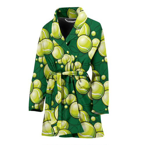 Tennis Pattern Print Design 04 Women Bathrobe