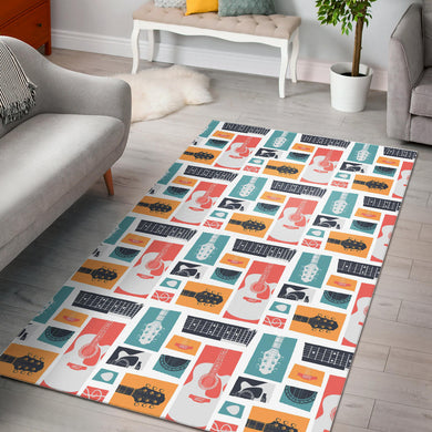 Guitar Pattern Background Area Rug