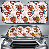 Red Dragon Hibiscus Pattern Car Sun Shade