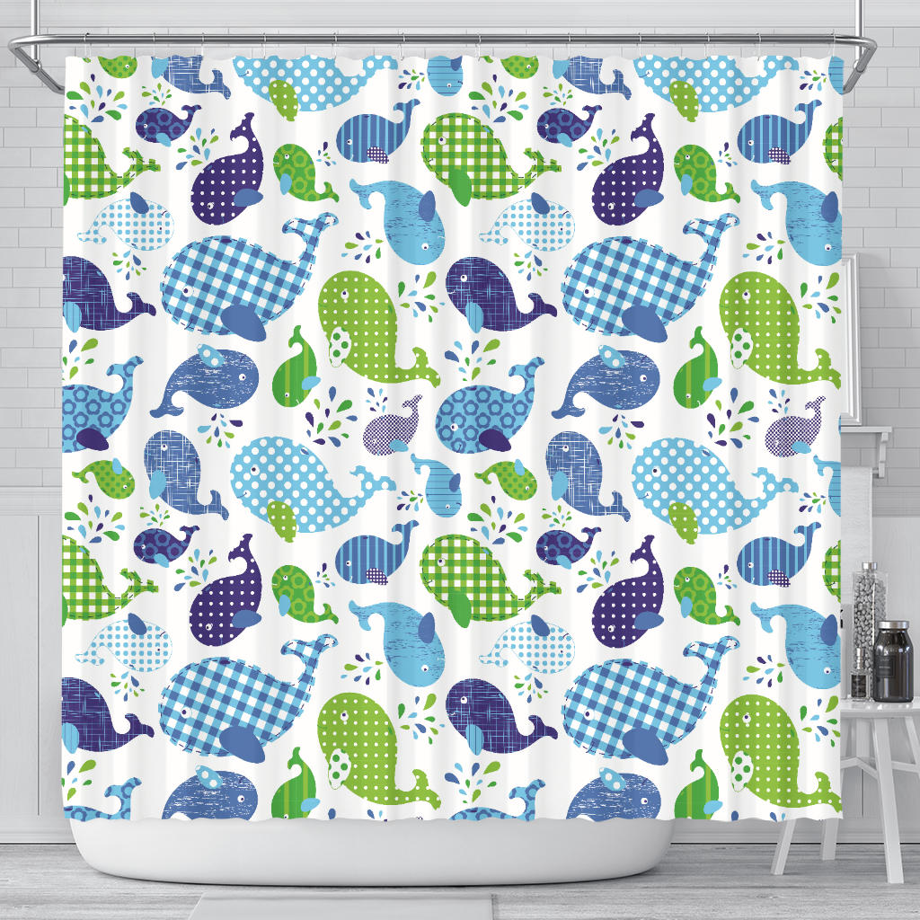 Whale Stripe Dot Pattern Shower Curtain Fulfilled In US