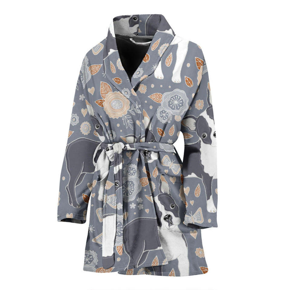 Boston Terrier Flower Pattern Gray Background Women Bathrobe