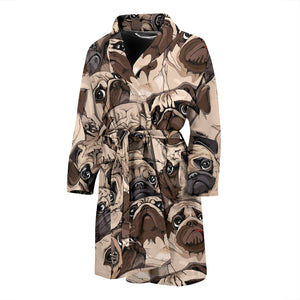 Pug Pattern Background Men Bathrobe