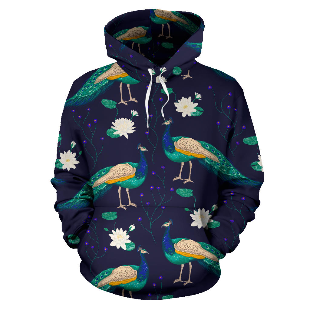 Peacock Flower Pattern Men Women Pullover Hoodie