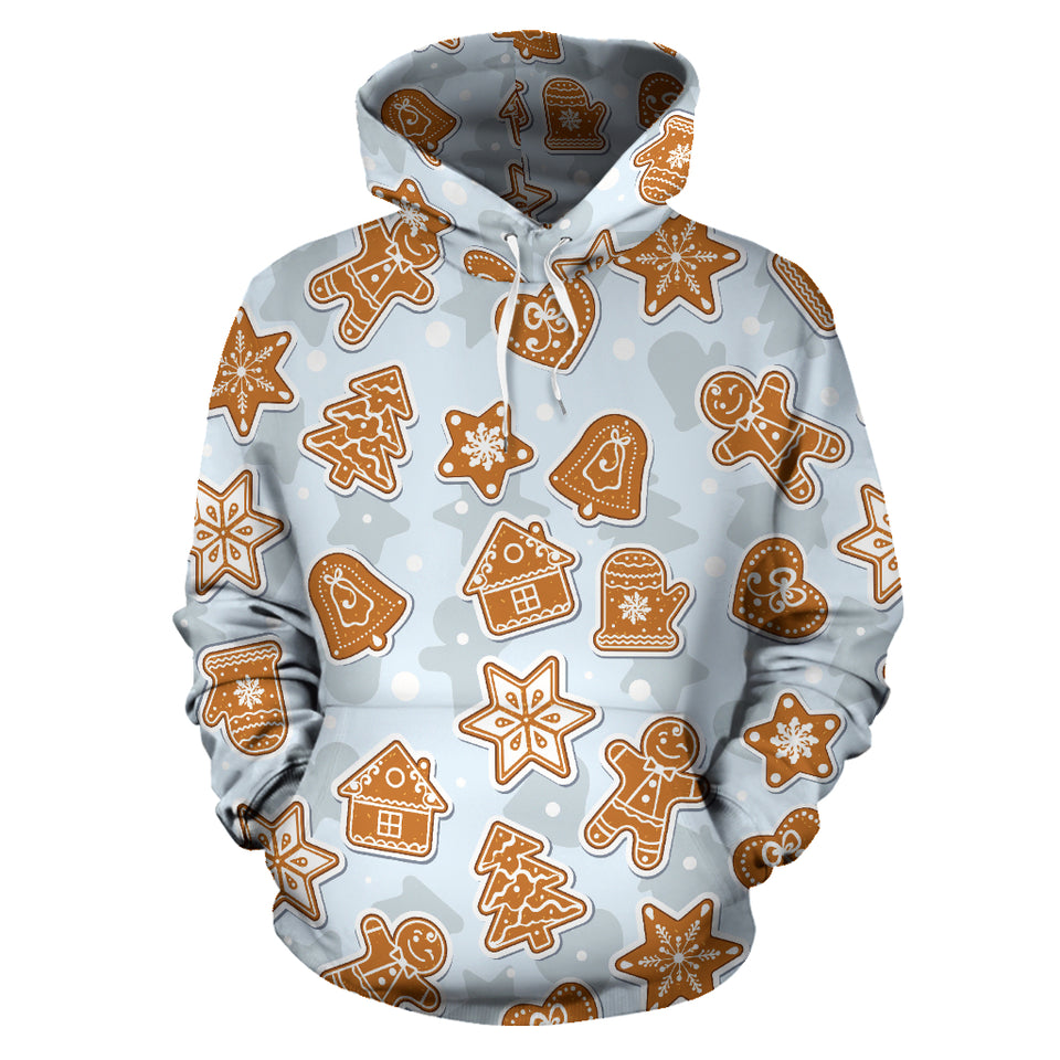 Christmas Gingerbread Cookie Pattern background Men Women Pullover Hoodie