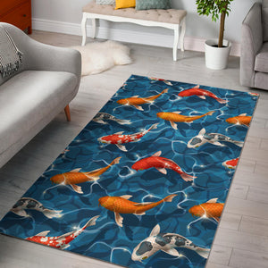 Koi Fish Carp Fish in Water Pattern Area Rug