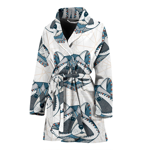 Raccoon Head Pattern Women Bathrobe