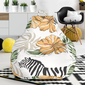 Zebra Hibiscus Pattern Bean Bag Chair