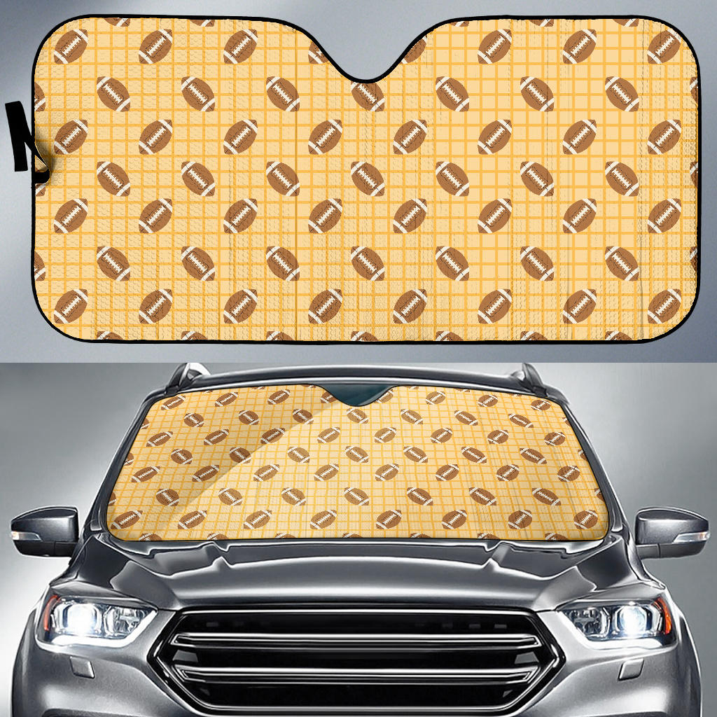 American Football Ball Pattern Yellow Background Car Sun Shade
