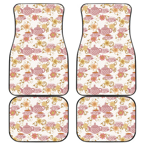 Tea pots Pattern Print Design 01 Front and Back Car Mats