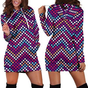 Zigzag Chevron Pokka Dot Aboriginal Pattern Women Hoodie Dress