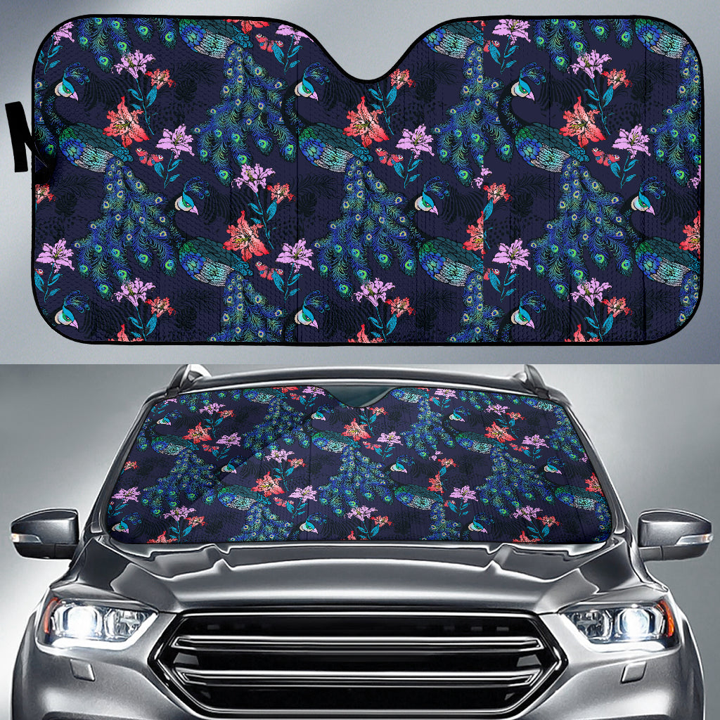 Peacock Feather Pattern Car Sun Shade