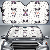 Cute Boston Terrier Pokka Dot Pattern Car Sun Shade