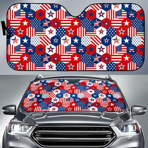 USA Star Hexagon Pattern Car Sun Shade
