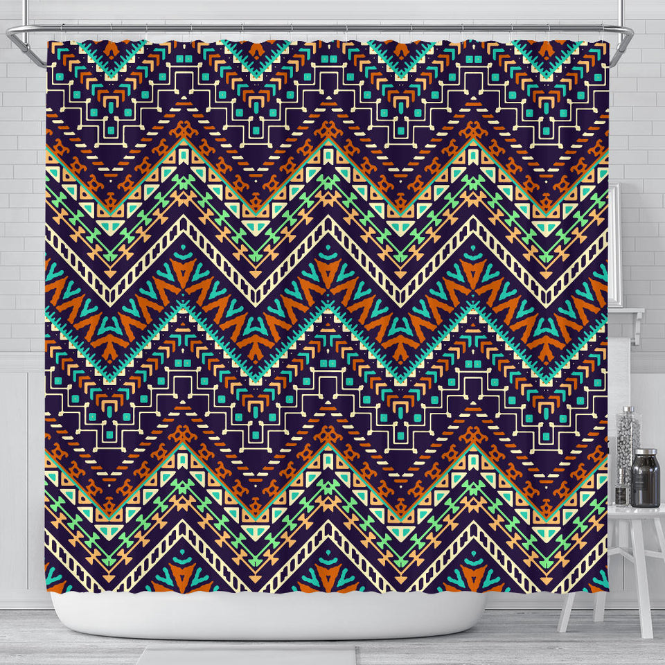 Zigzag African Afro Dashiki Adinkra Kente Shower Curtain Fulfilled In US