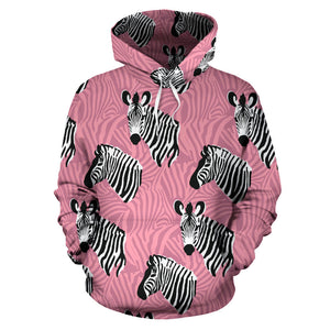 Zebra Head Pattern Men Women Pullover Hoodie