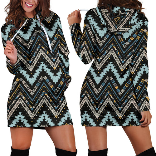 Zigzag Chevron African Afro Dashiki Adinkra Kente Women Hoodie Dress