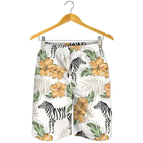 Zebra Hibiscus Pattern Men Shorts