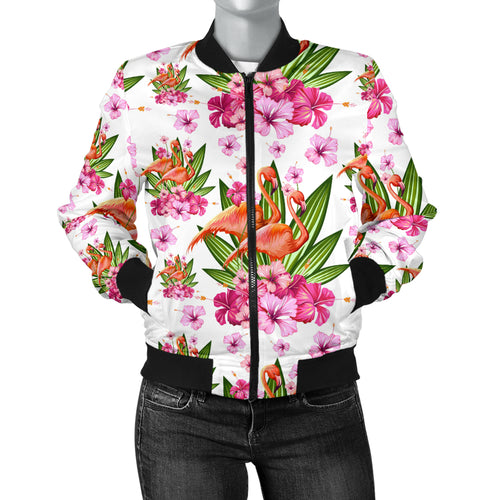 Flamingo Pink Hibiscus Pattern Women Bomber Jacket