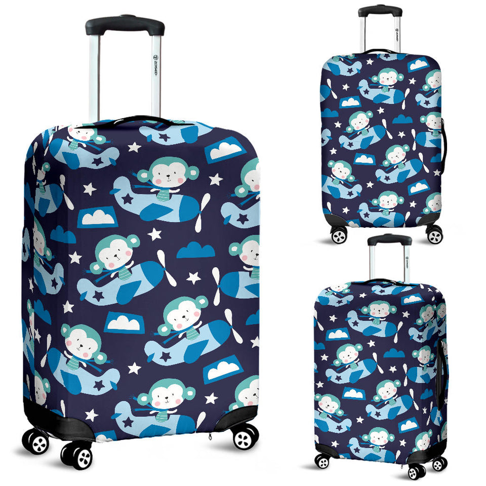 Monkey in Airplane Pattern Luggage Covers