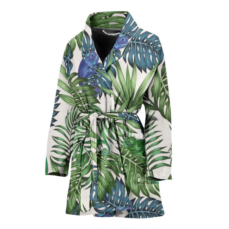 Green Blue Chameleon Lizard Leaves Pattern Women Bathrobe