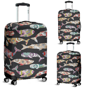 Whale Flower Tribal Pattern Luggage Covers