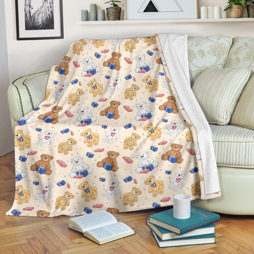 Teddy Bear Pattern Print Design 01 Premium Blanket