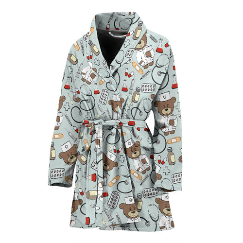 Teddy Bear Pattern Print Design 02 Women Bathrobe
