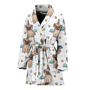 Unicorn Pug Pattern Women Bathrobe