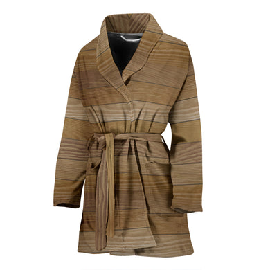 Wood Printed Pattern Print Design 02 Women Bathrobe