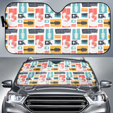 Guitar Pattern Background Car Sun Shade