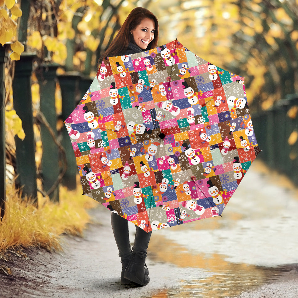 Snowman Colorful Theme Pattern Umbrella
