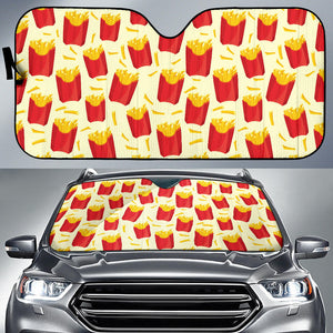 French Fries Pattern Theme Car Sun Shade