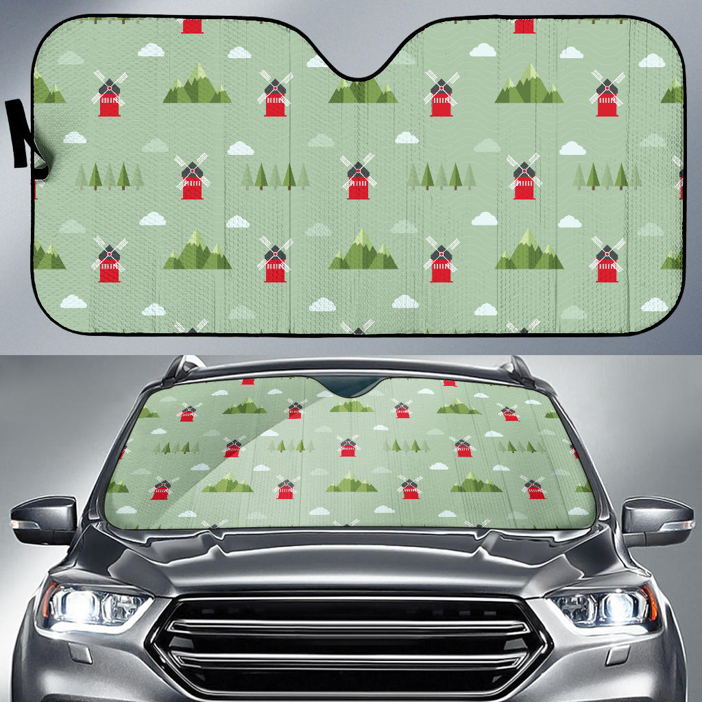 Windmill Green Pattern Car Sun Shade