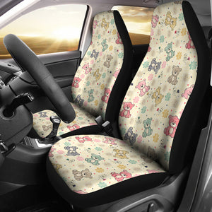 Teddy Bear Pattern Print Design 05 Universal Fit Car Seat Covers