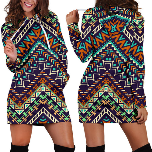 Zigzag African Afro Dashiki Adinkra Kente Women Hoodie Dress