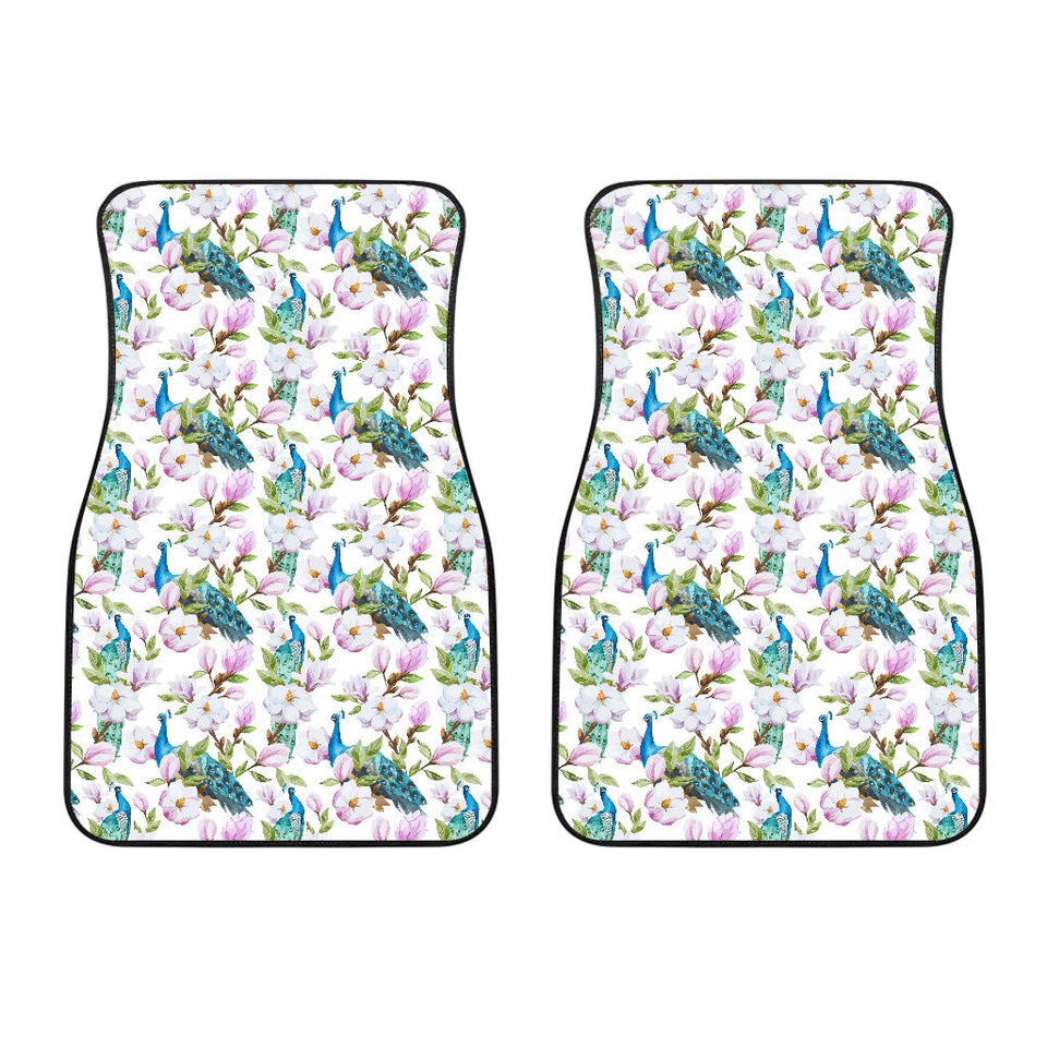 Peacock Pink Flower Pattern Front Car Mats
