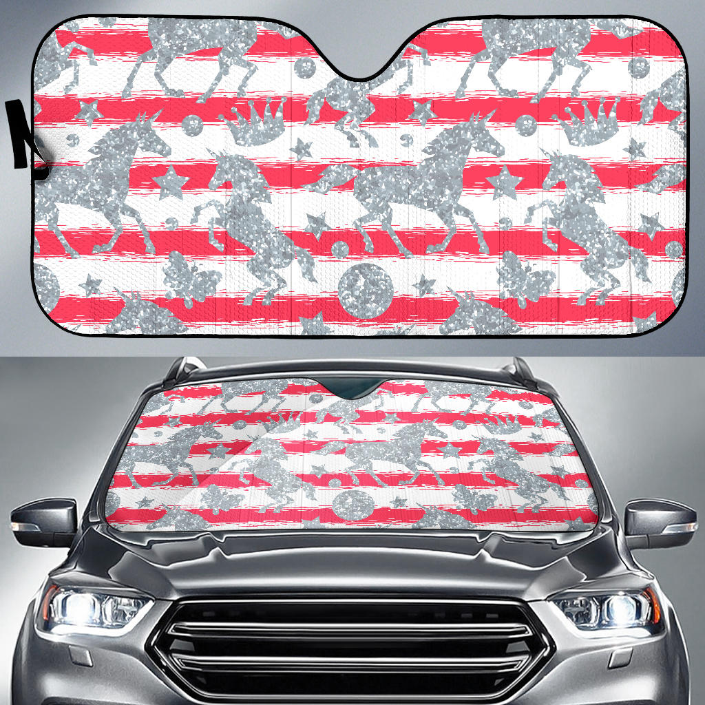 Unicorn Silver Pattern Car Sun Shade