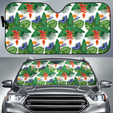 Heliconia Butterfly Leaves Pattern Car Sun Shade