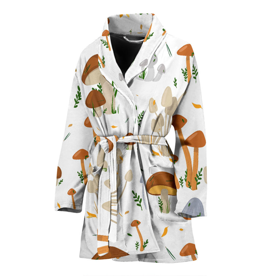 Mushroom Pattern Theme Women Bathrobe