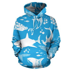 Shark Pattern Blue Theme Pullover Hoodie