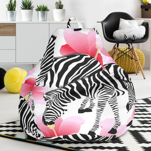 Zebra Red Hibiscus Pattern Bean Bag Chair