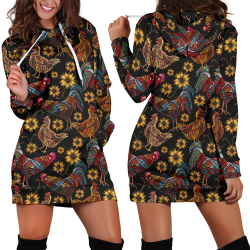 Rooster Chicken Flower Pattern Women Hoodie Dress