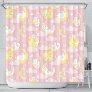 Moon Sleeping Cat Pattern Shower Curtain Fulfilled In US
