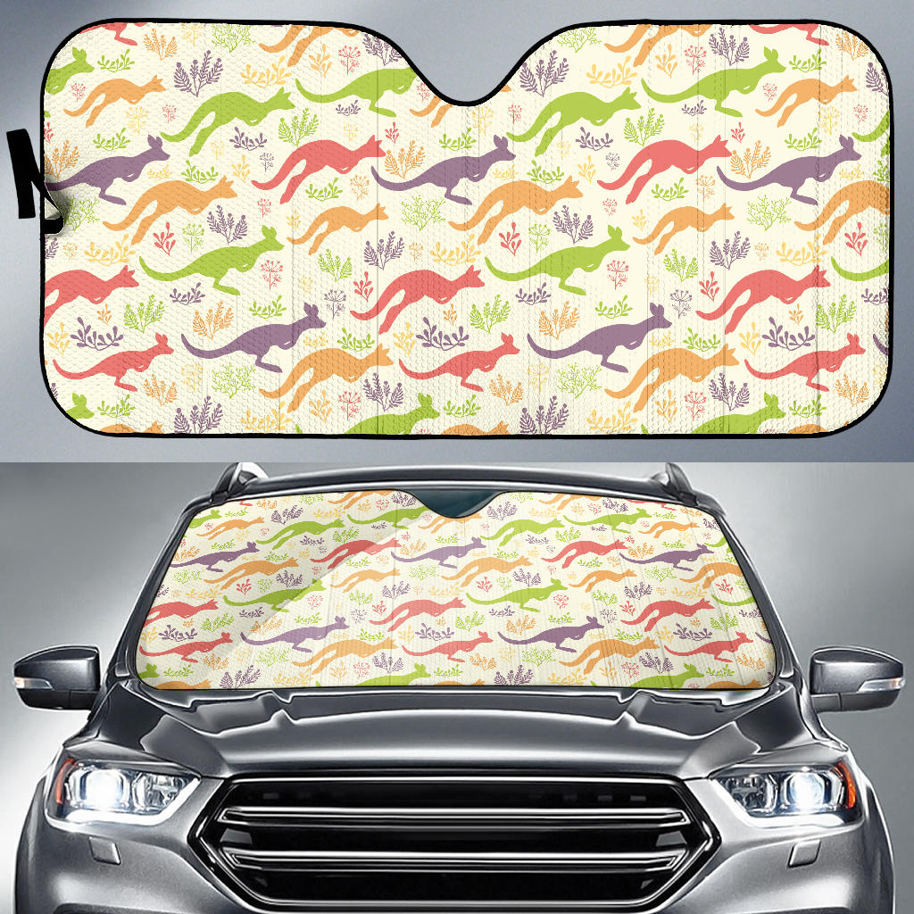 Colorful Kangaroo Pattern Car Sun Shade