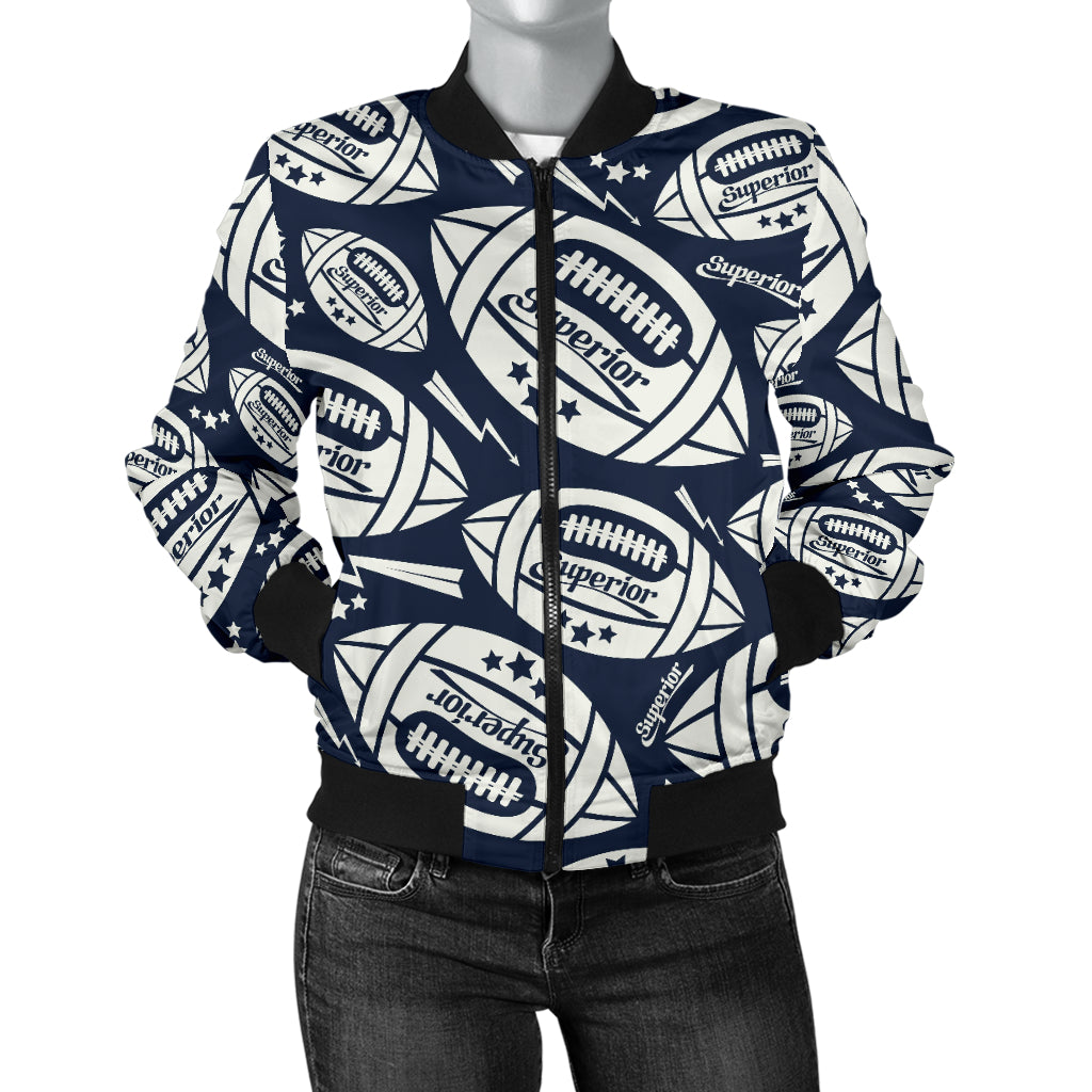 American Football Ball Pattern Women Bomber Jacket