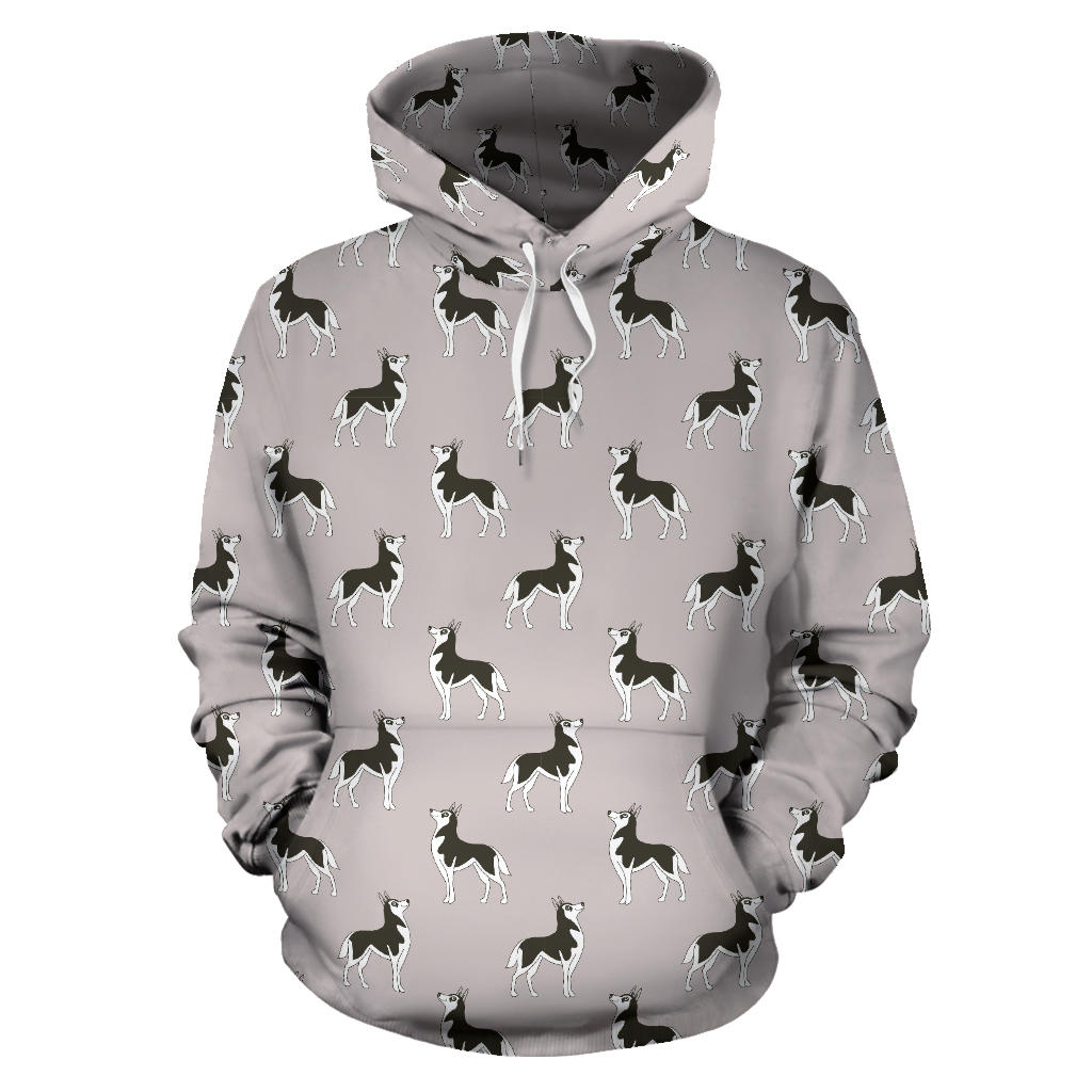 Siberian Husky Pattern Background Men Women Pullover Hoodie