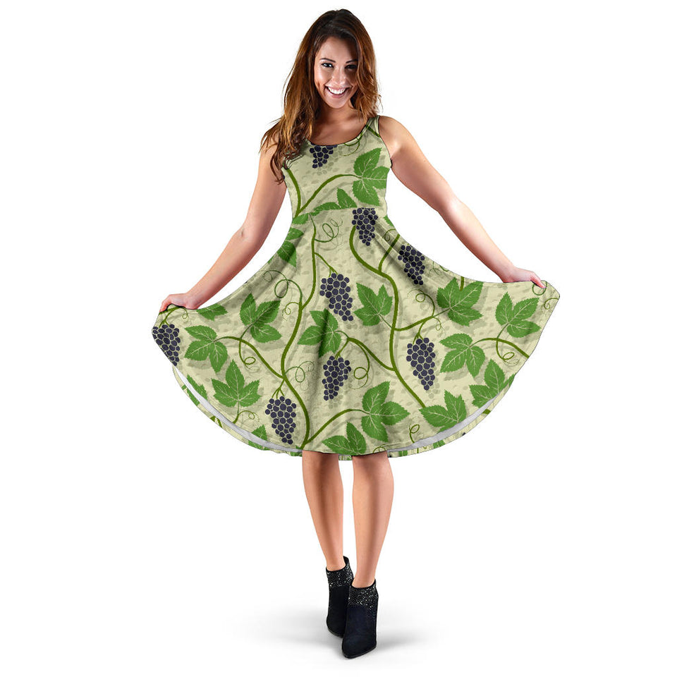 Grape Leaves Pattern Sleeveless Midi Dress