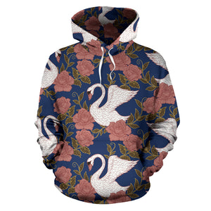 Swan Rose Pattern Men Women Pullover Hoodie